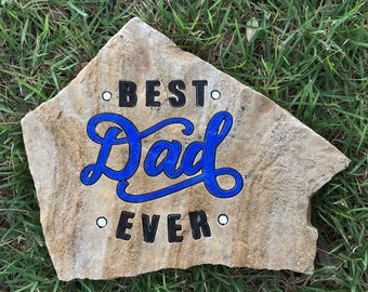 Best Dad Ever engraved flagstone garden decor unique manly gift