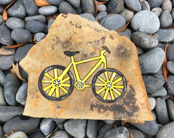 Bicycle engraved on naturally shaped flagstone home, garden and office decor manly gifts