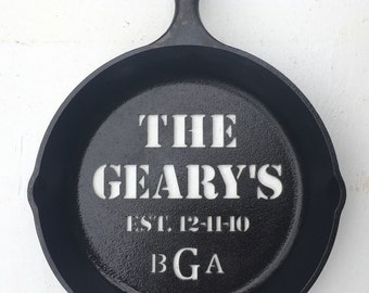 Custom cast iron skillet personalized gifts for him sixth year wedding anniversary Father's Day idea