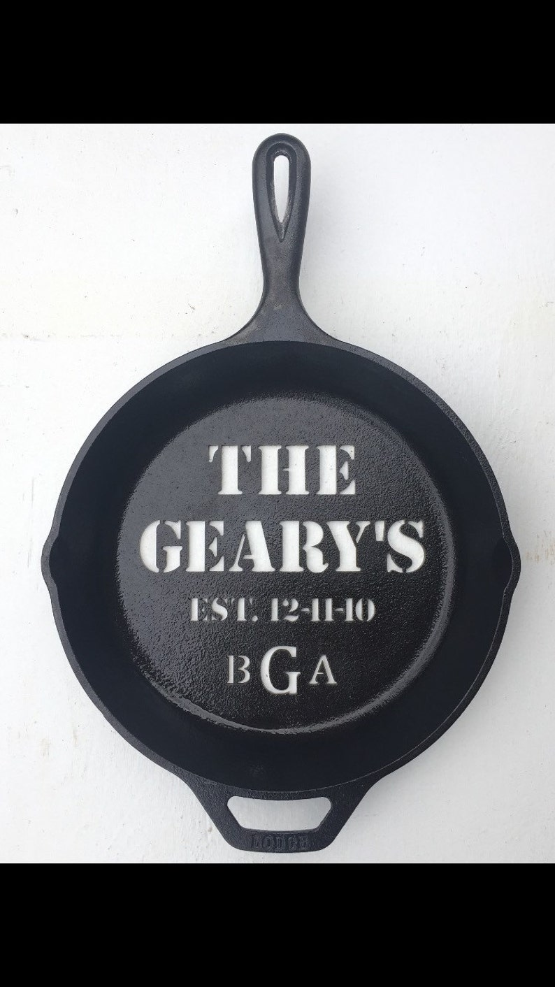 Custom cast iron skillet personalized gifts for him sixth year image 0
