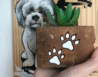 Dog paw prints engraved brick planter with faux succulent - desk, office and home decor