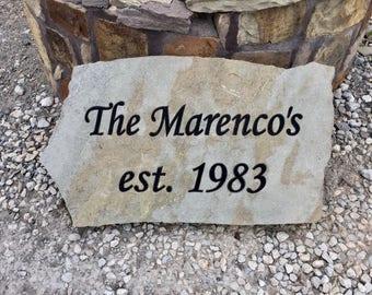 Custom engraved flagstone sign, memorial, headstone, gravestone, celebration, wedding, anniversary stone address stone
