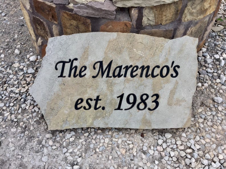 Custom engraved flagstone sign memorial headstone image 0