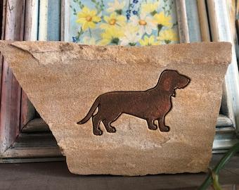 Dachshund engraved flagstone animal art