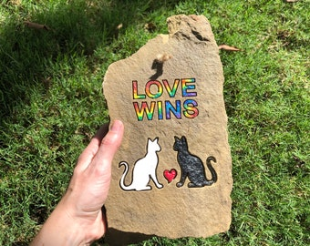 Love wins - Two cat lovers in August engraved rainbow black and white stone pride art