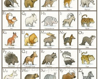 "Mammal Alphabet, 12"" x 12"", Original Print, Watercolor Illustration"