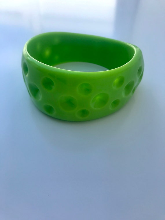 Lime Green Moon Cheese!  Lime green plastic chunky