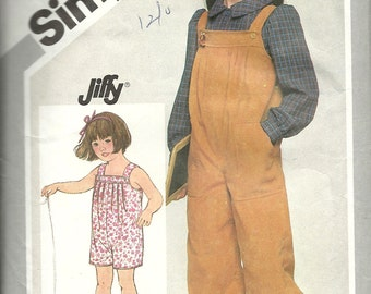 """Simplicity 5689      Child's """"Jiffy""""   Pull-On Jumpsuit in Two-Lengths   Size 5"""