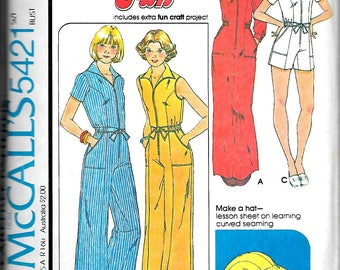 McCall's 5421  Misses/Juniors  Jumpsuits   Size 8    C1977