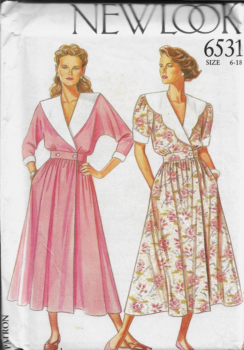 391e057d664 New Look 6531 Misses Wrap Front Dresses Sizes