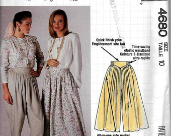 McCall's 4680      Misses Skirt, Culotte and Pants      Size 10    Uncut