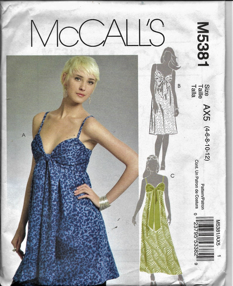 061feefbf10b McCall s 5381 Misses Summer Empire Waste Dresses
