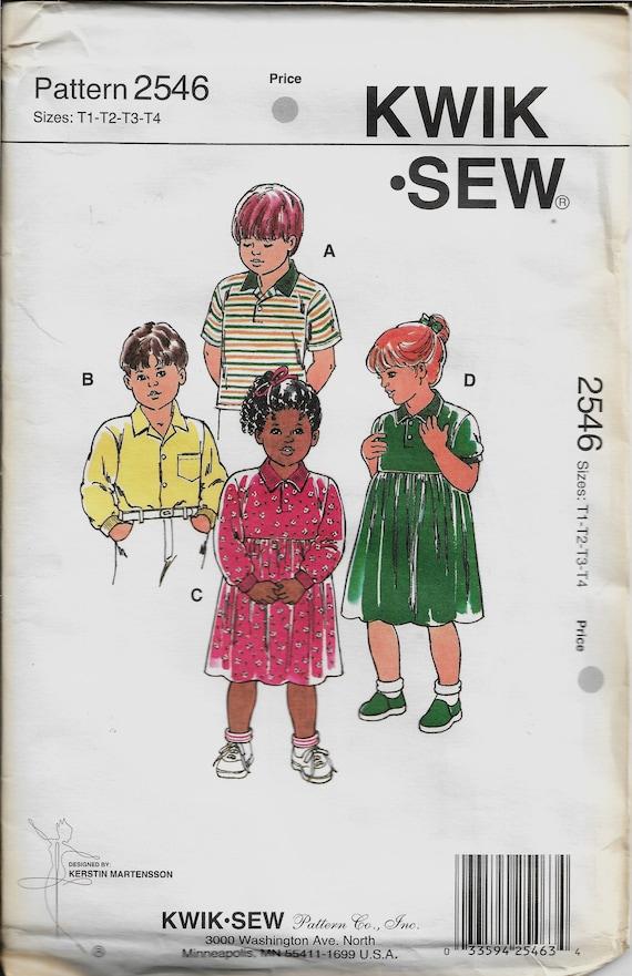 Kwik Nähen 2546 Kleinkind Shirts und Kleider Größe T1 2 3 4 | Etsy
