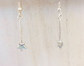 Glitter star Fairy wand(s) dangle earrings