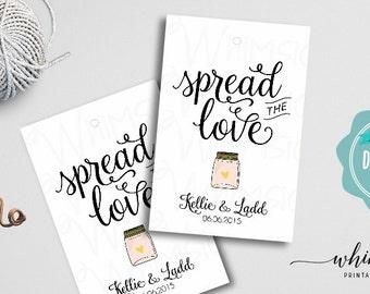 "Spread the Love Jam Favor Tag ""Swirly II"" (Printable File Only) Wedding Favors, Spread the Love Tag, Wedding Jam Favor, Wedding Jelly Favor"