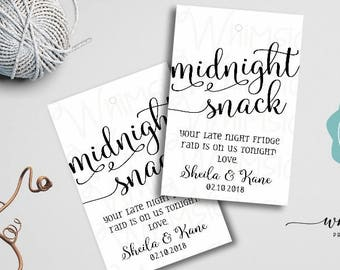 """Midnight Snack Favor Tag """"Swirly"""" (Printable File Only) Midnight Snack, Wedding Favor Tag,Late Night Snack, Wedding Favors, Food Favor Tag"""