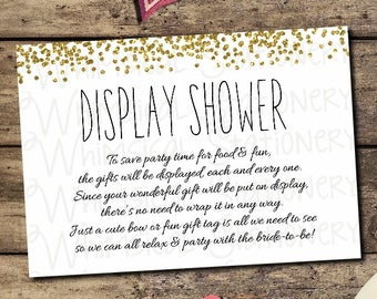 bridal shower display shower card confetti gold printable file only be a dear wrap in clear dont wrap gift gifts on display