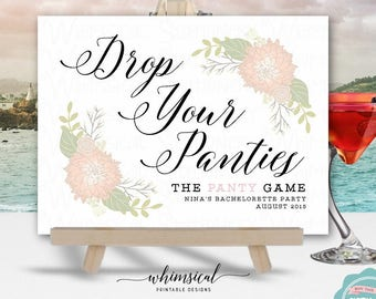 "Panty Game Sign ""White & Florals"" (Printable File Only) Bachelorette Party, Drop Your Panties, Bride Panty Game, Bridal Shower Game"