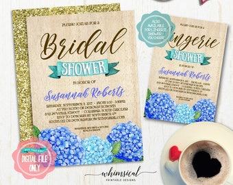 "Bridal Shower Invitation ""Wood & Blue Hydrangea""  (Printable File Only) Lingerie Shower, Bridal Shower Invite, Wedding Shower, Rustic Shower"
