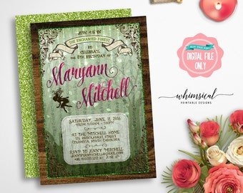 "Birthday Invitation ""Enchanted Forest"" (Printable File Only)  Fairy Princess, Fairy Birthday, Fairy Invitation, Fairy Lights, Fairy Forest"