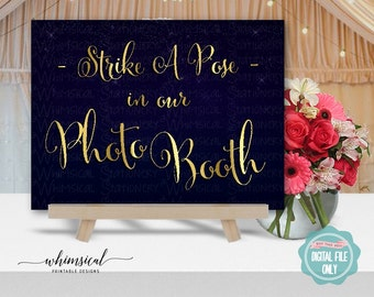 """Photo Booth Sign """"Starstrewn Night"""" (Printable File Only) Wedding Sign, Strike A Pose, Pick A Prop, Say Cheese, Photobooth Sign, Smile"""