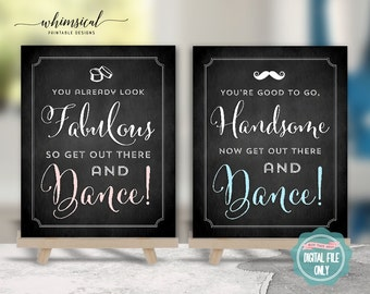 """Bathroom Sign Set """"You Look, Chalk"""" (Printable File Only) Powder Room Sign, You Look Great, Go Dance, Ladies Room Sign, Wedding Sign"""