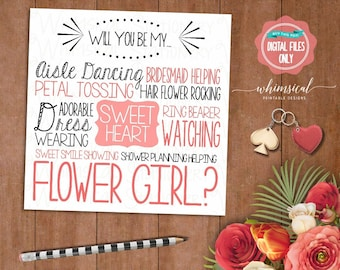 """Be My Flower Girl Card """"Aisle Dancing Sweetheart"""" (Printable File Only) Be In Our Wedding, Wedding Party Card, Ask Flower Girl, Flowergirl"""