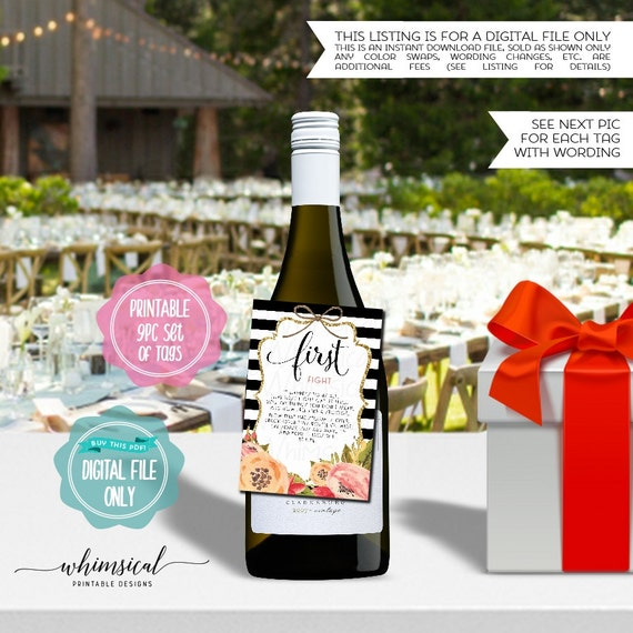 Year Of Firsts Wine Bottle Tags Stripes Printable File Only Wine