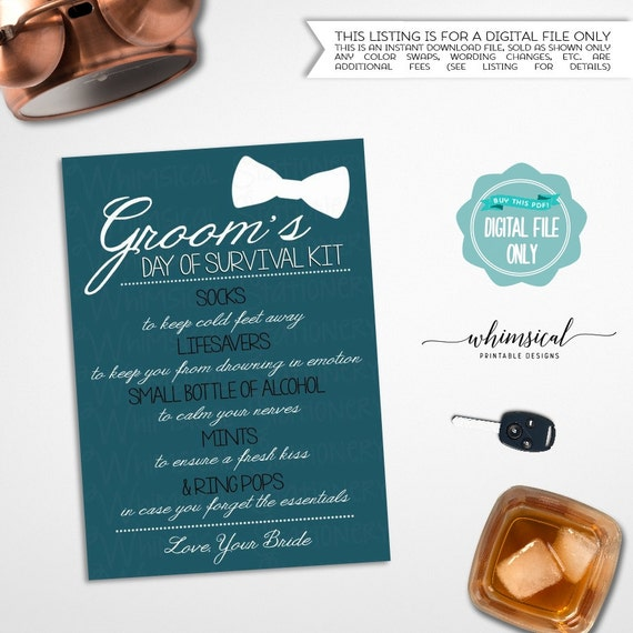 picture about Printable Survival Cards identified as Grooms Survival Package Card \