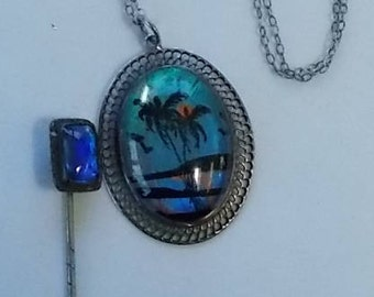 Butterfly Wing Necklace and Stick Pin.  (487)