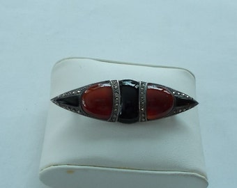 Jewelry & Watches Pins, Brooches Vtg 800 Silver Real Carnelian Gemstone Arabic Pin Brooch