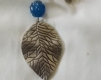 Silver Leaf Necklace with Blue,  Silver Tone and Green Beads. (317)
