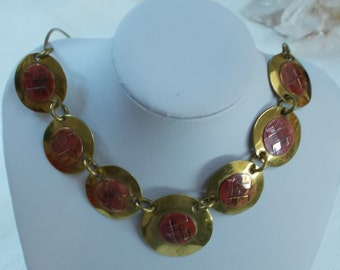 Vintage Brass and Copper Necklace.  (741)