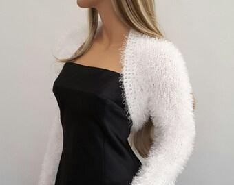 Knit to ORDER. Hand knitted Wedding Bridal  Eyelash White colour Shrug Bolero, long sleeves, Bridal Shrug Bolero