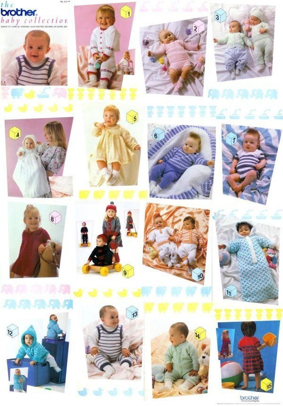 Knitting Machine Patterns The Brother Babies Collection Etsy