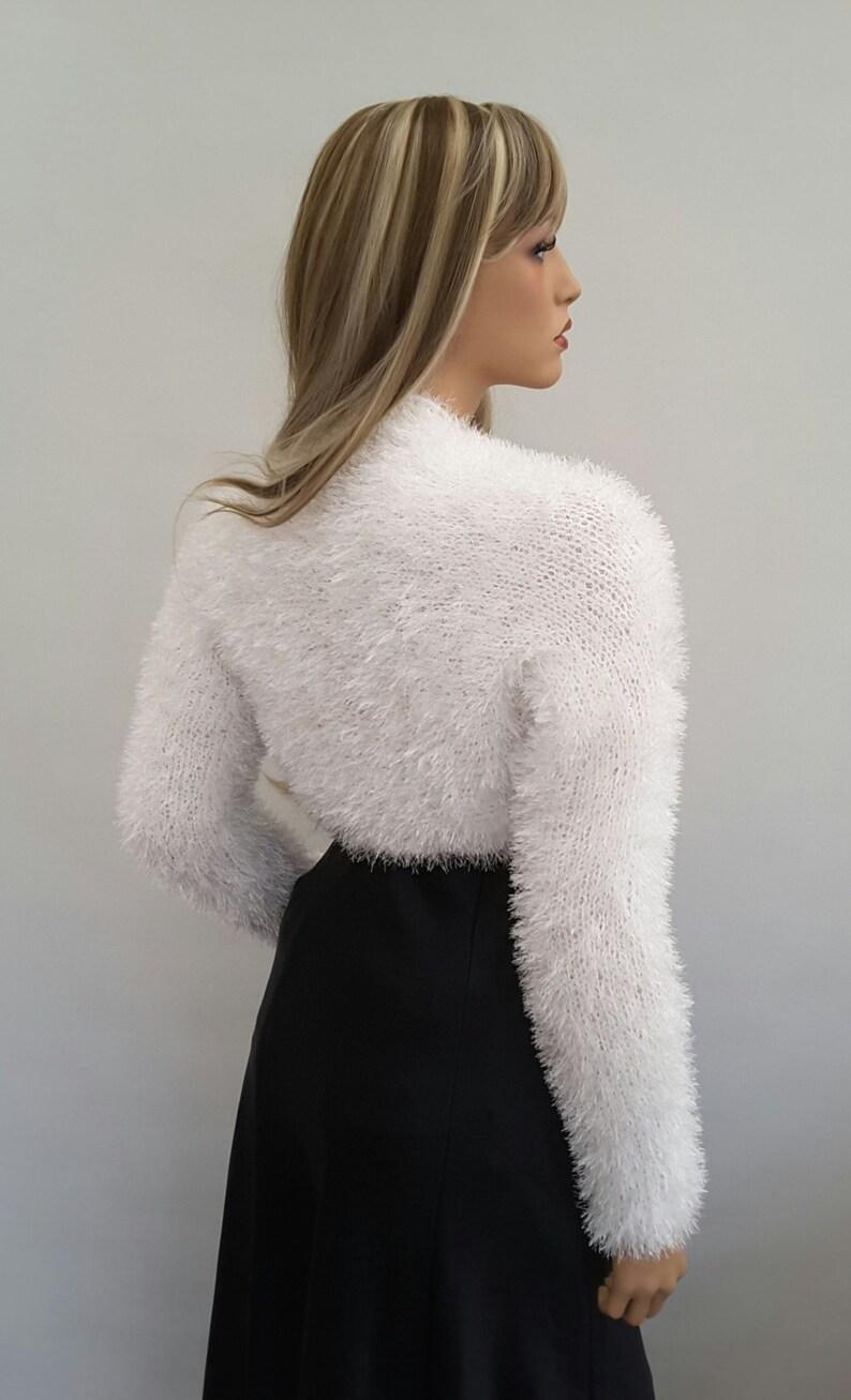 Knit to ORDER Bridal Shrug Bolero Hand knitted Wedding Bridal  Eyelash White colour Shrug Bolero long sleeves