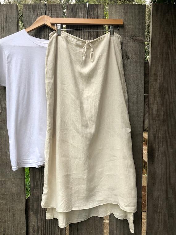 Double Hemline Linen Lagenlook skirt
