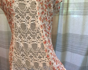 Authentic Vintage Free People, Plus Size, Large Women, Floral, Netted, Hipster Tunic