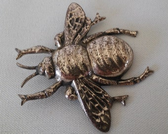 Bold Bug! Large Bee Insect Fly Vintage Pin/Brooch Danecraft Sterling Silver