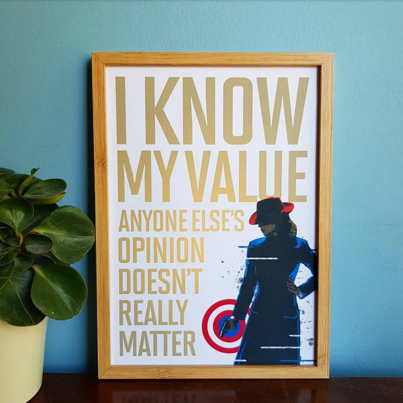 Agent Carter Inspired Quote Print I Know My Value A4 & A5 image 1