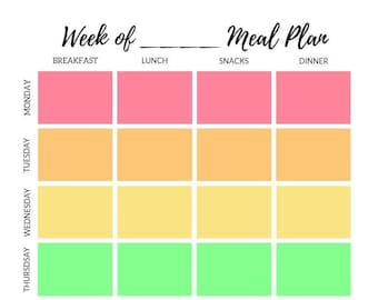 Weekly Meal Planner - Breakfast, Lunch, Snack, and Dinner Planner - 7 Day Meal Plan