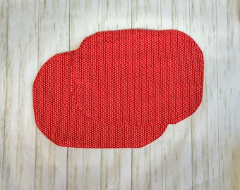 Reversible Placemats, Fabric Washable Placemats Red Polka Dot Placemats
