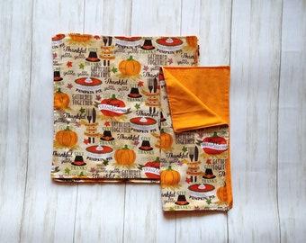 "Thanksgiving Cloth Napkins, 12"" Zero Waste Cloth Napkins"