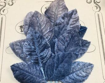 Blue vintage millinery velvet leaves