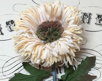 Sweet cream vintage millinery sunflower