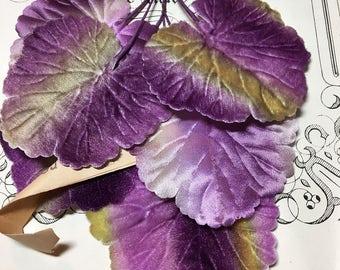 Vintage velvet and silk millinery leaves purple