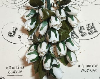 Vintage millinery cream rosebud spray