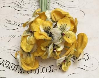 Vintage millinery yellow pansies