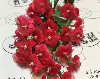 Sweet little bunch of red vintage millinery
