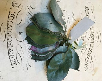 Vintage millinery frosted leaves